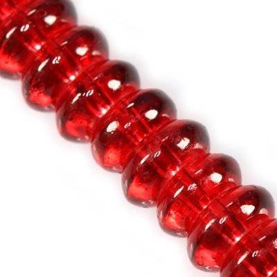 glass beads rondell red 10 mm