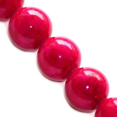 marble beads dyed pink 14 mm / natural stone dyed