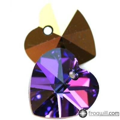 Swarovski heart pendants crystal heliotrope 14.4 x 14 mm