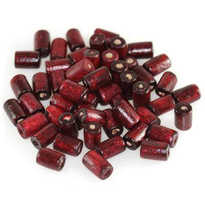 tubes wooden beads burgundy 8 x 4 mm