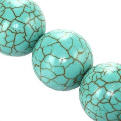 turquoise beads 16 mm / semi-precious stone synthetic