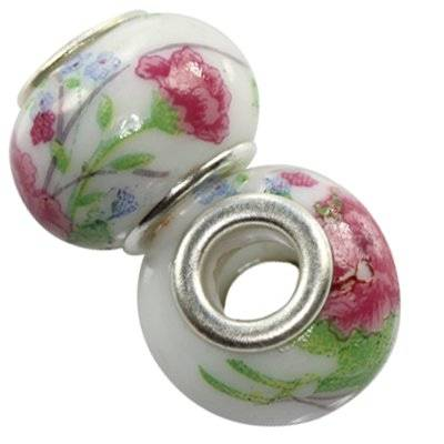 modular beads ceramic rose flower 10 x 13 mm