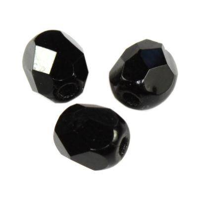 Czech Fire Polished beads 4mm round black