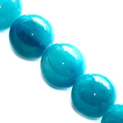 marble beads dyed glassy blue 12 mm / natural stone dyed