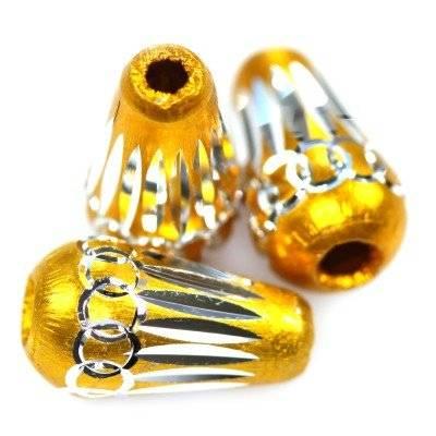 drops aluminium beads gold 8 x 15 mm