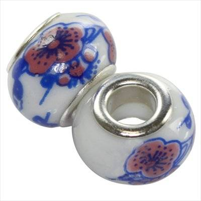modular beads ceramic cobalt flower 10 x 13 mm
