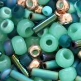 perline Toho multi-shape/color mix tatsu- teal mix 2 – 4 mm TX-01-3222