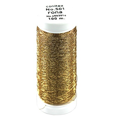 Rona™ Embroidery thread gold toned / metallised thread