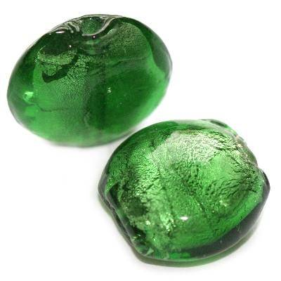 lampwork beads deep green 19 mm puff