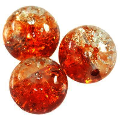 crackle bolas laranja 10 mm