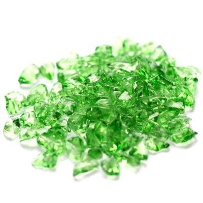 glass beads chips green