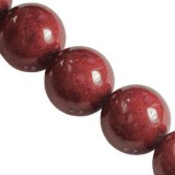 Jade Berg perlen rubinrot 8 mm / Halbedelstein gefärbt