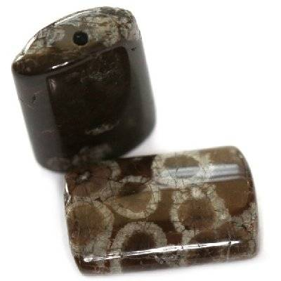 rectangles obsidienne brune neigeuse 14 x 20 mm