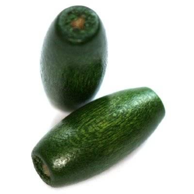 ovals wooden beads dark green 15 x 7 mm