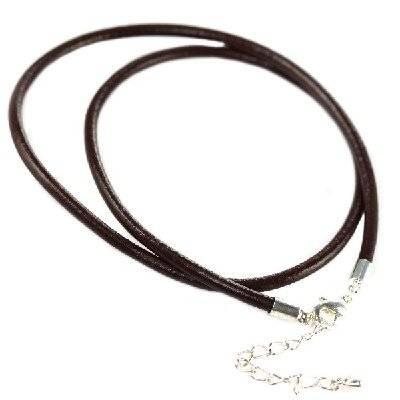collier modulaire lanière brune 45 cm