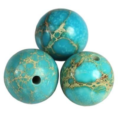 imperial jasper round azure 8 mm färgad natursten