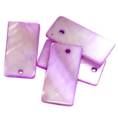 pendants mother of pearl rectangles amethyst 10 x 20 mm