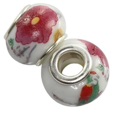 modular beads ceramic coral flower 10 x 13 mm