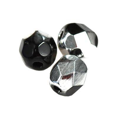 Czech Fire Polished beads 4mm round black silver