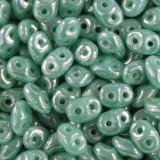 Koraliki SuperDuo opaque green turquoise  luster 2,5 x 5 mm / koraliki dwudziurkowe