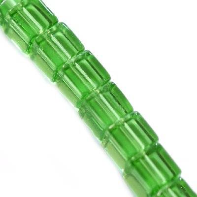 glass beads cube green 6 x 6 mm