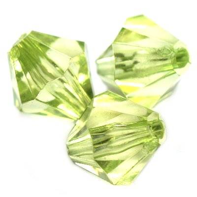 plastic bicone beads green 14 mm