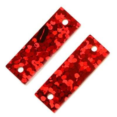 sequins laser rectangles red 6 x 19 mm