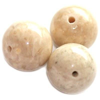 marble beads dyed white 12 mm / natural stone dyed