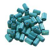 tubes wooden beads turquoise 10 x 6 mm