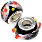 modular beads colorful insets on black 8 x 14,5 mm