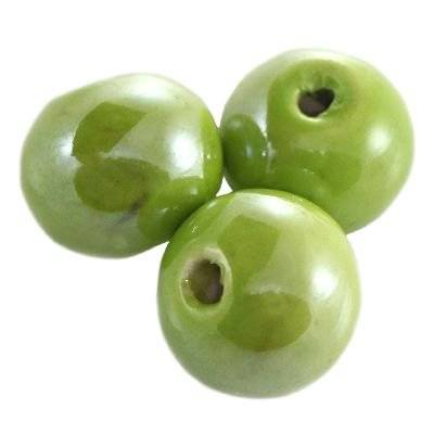 round shining porcelain green 12 mm
