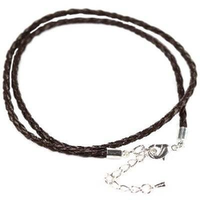 modular necklace woven brown leather 45 cm