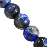 agate dragon eye blue round 8 mm färgad natursten