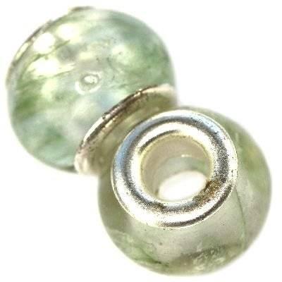 koraliki modułowe kamień zielony kwarc mszysty 10 x 14 mm