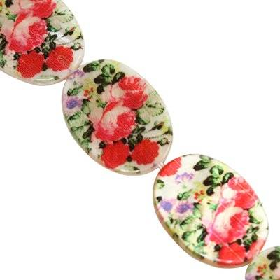 mother of pearl oval red roses 18 x 25 mm