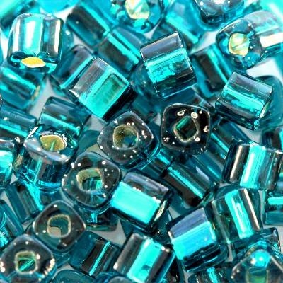Toho beads cube silver-lined teal 3 mm TC-03-27BD