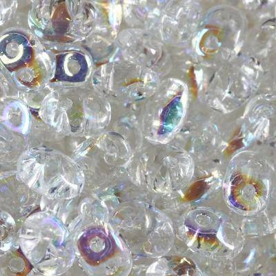SuperDuo beads transparent crystal AB 2,5 x 5 mm / Czech two hole beads