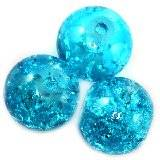 crackle beads beads blue 12 mm