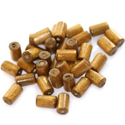 tubes wooden beads light brown 10 x 6 mm