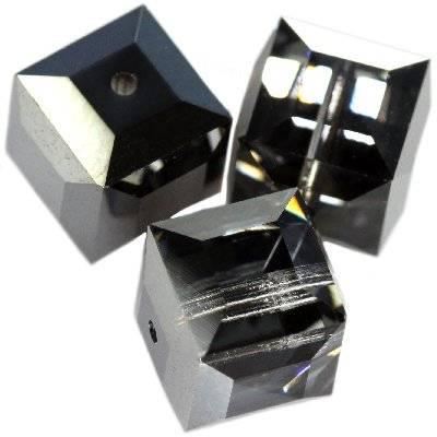 Swarovski cube beads crystal silver night b 4 mm