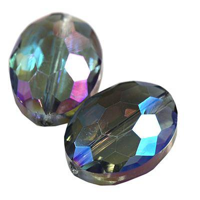 crystals flat faceted beads oval ab 16 mm