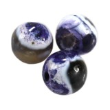 agate dragon eye purple round 4 mm indfarvet naturlig sten