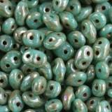 Koraliki SuperDuo opaque green turquoise picasso 2,5 x 5 mm / koraliki dwudziurkowe