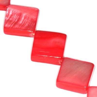 masa perłowa kwadraty 10 x 10 mm czerwone