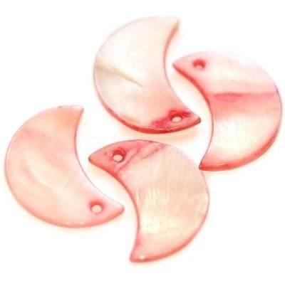 pendentifs nacre lunes roses 12 x 22 mm