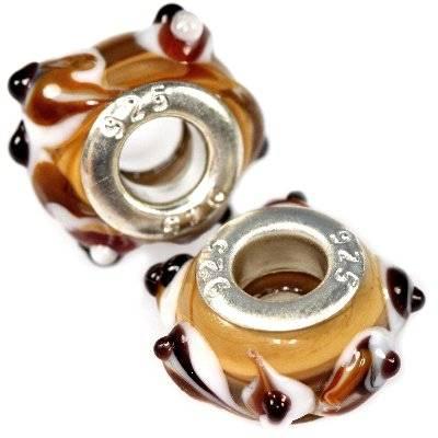 perles modulaires collines colorées fond ambre 8 x 14.5 mm