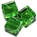 Swarovski cube beads fern green 4 mm