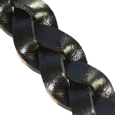 rzemień pleciony płaski czarny 14 mm
