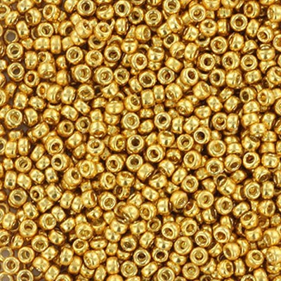 Miyuki round Perlen duracoat galvanized gold 15/0