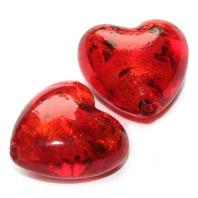 lampwork beads red 20 mm heart